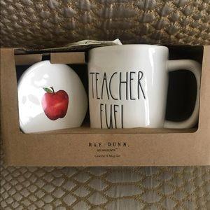 Rae Dunn TEACHER FUEL mug & coaster set